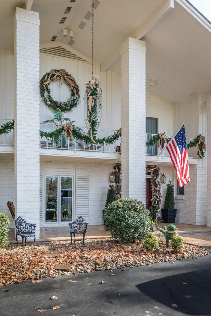 Front of home decorated for Christmas