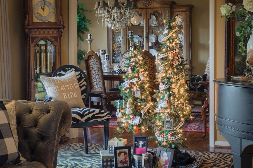 Interior of home decorated for Christmas