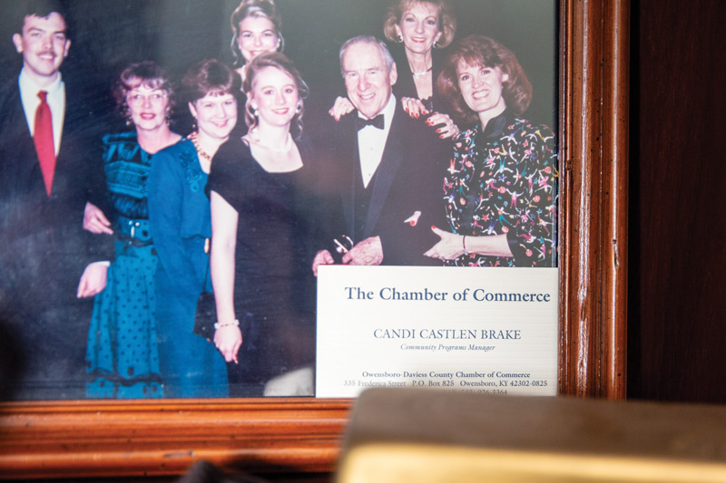 Candance Brake, president and CEO of Greater Owensboro Chamber of Commerce, keeps her fist business card on display.