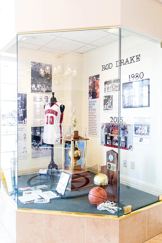 Display case at Independence Bank displaying Rod Drake articles and memorabilia