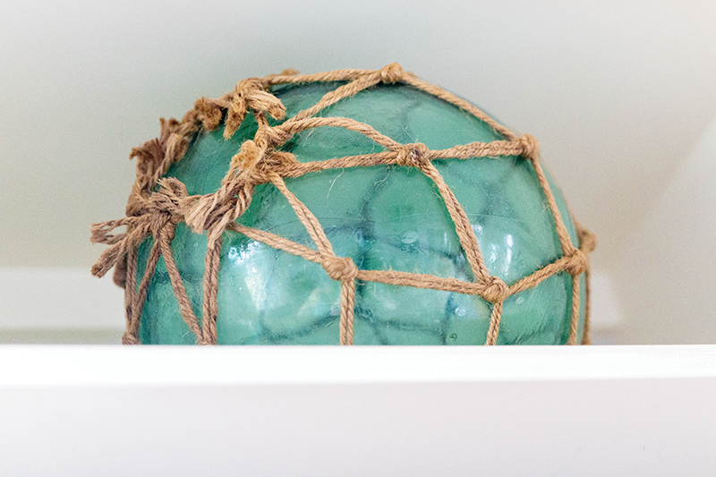 vintage blown glass netted Japanese fishing buoy