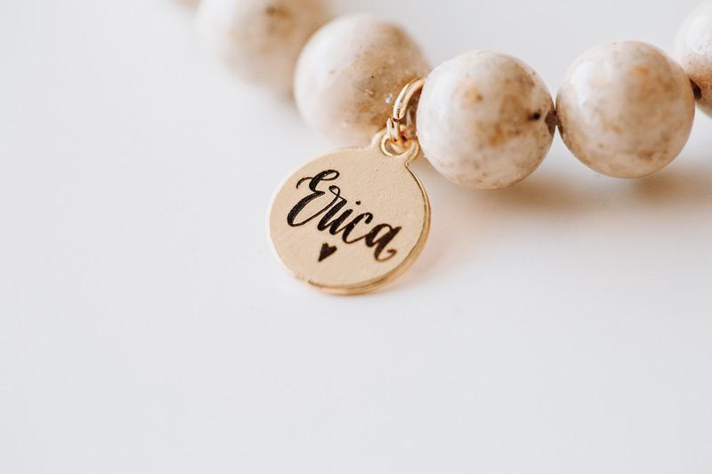 "Closeup of ""Erica"" charm on bracelet"