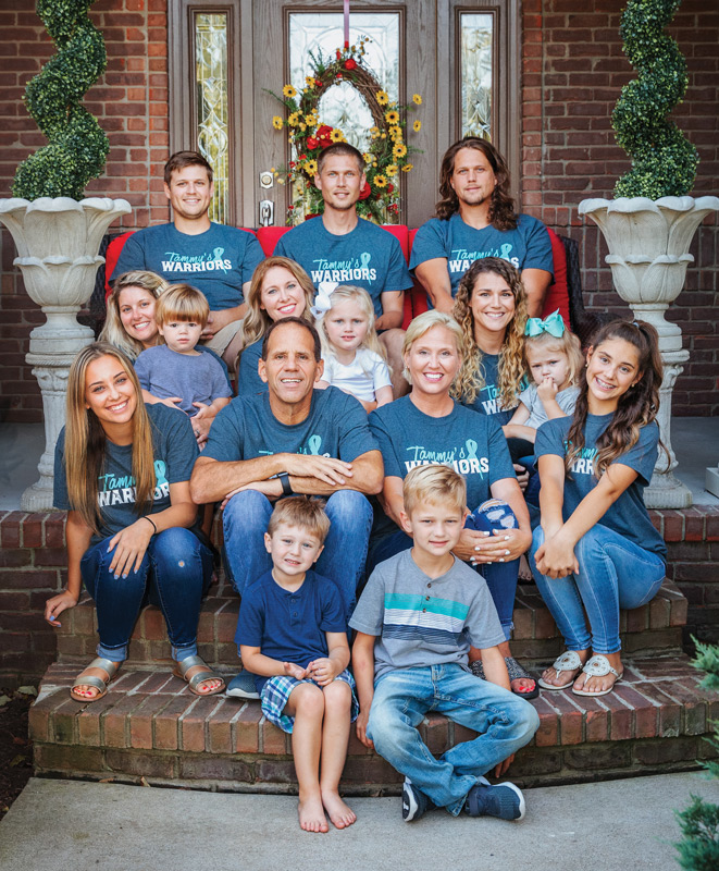"Tammy Thompson's family wearing ""Tammy's Warriors"" tshirts"